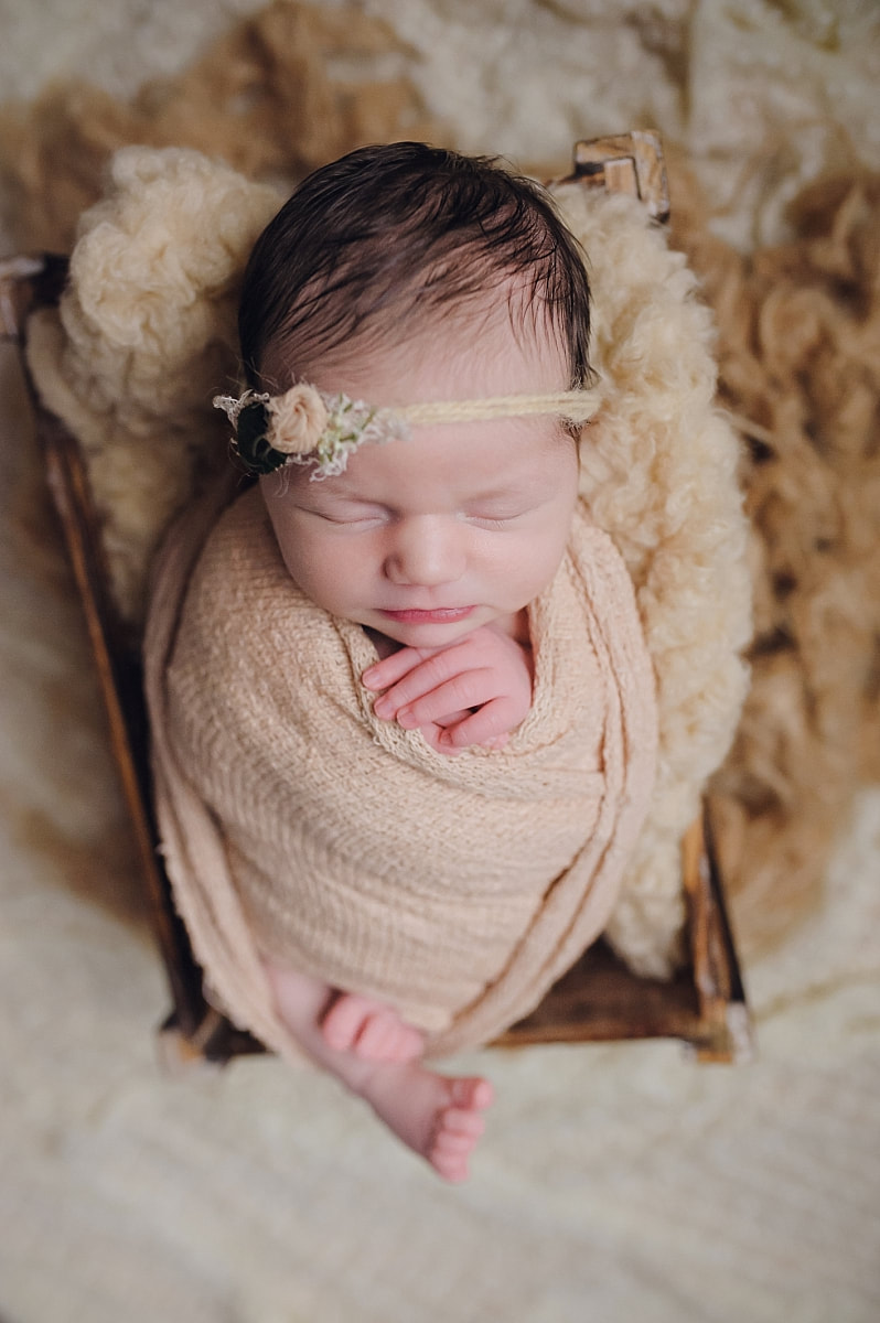 Newborn photo session baby posed and sleeping in a wooden box